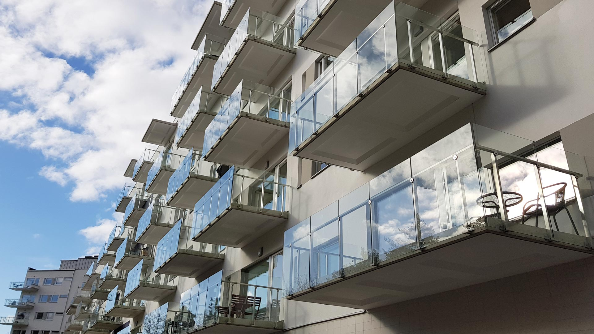RIPO railings in modern apartment building projects in Sweden